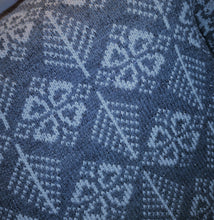 blue coloured fair isle cushion