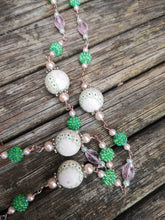 Blossoms.. long necklaces, hand made beaded chain with polymer clay beads