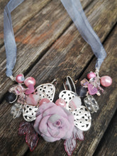 Dainty prelude, Cluster garland necklace with handmade polymer clay flower beads