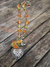 burnt orange and olive beaded necklace