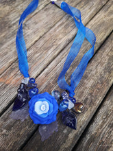 """Overture""...Cluster garland necklaces with handmade polymer clay flowers beads  (small.)"
