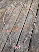 pink glass beads and silver plated wire
