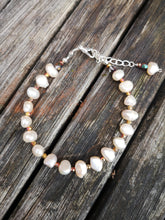 pearl & fire polished crystal bracelet
