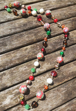 handwired necklace, red cherry