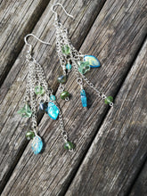 """Cascade earrings"", long drop,  beaded  with crystals, flowers, leaves etc"