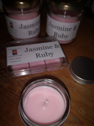 jasmine & ruby soy wax candle