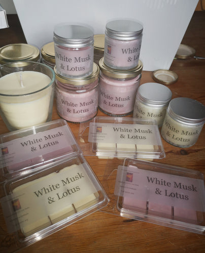 a range of white musk and lotus candles and melts