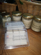 Green Tea & Lemon Balm, soy wax candles &  melts in various sizes.