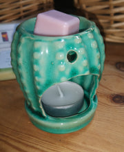 Ceramic cactus wax burner with melts, in a choice of 2 colours
