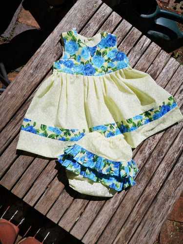 Blue Roses, gorgeous baby girls dress and frilly pants set for your little angel 3- 6m sizing...