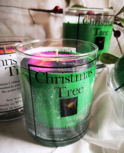 Christmas Tree, pine scented 300ml 10 oz. soy wax candle recyclable glass jar,