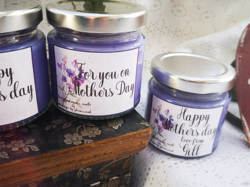 mothers day gift, 125ml scented candle  with label options,