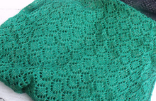 Handmade, lace knit infinity scarf, Cowl, Emerald Green coloured