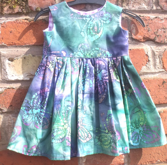 Handmade, Baby dress 100% cotton,  size 48cm chest, to fit 6 to 9 months