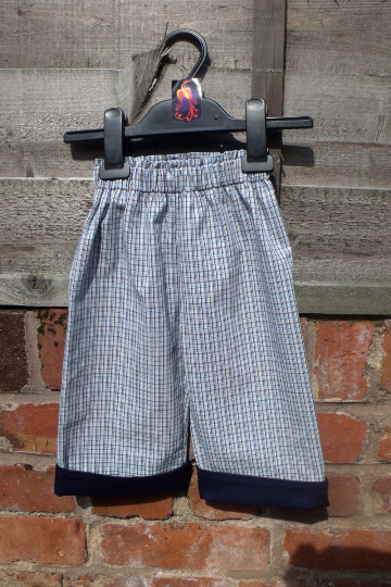 Handmade toddler pants, cotton with lycra, elastic waist to fit up to age 12 mths,