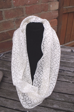 Handmade, lace knit infinity scarf, Cowl, cream coloured
