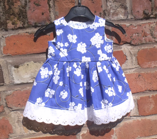 Handmade Baby dress 100% cotton, size 46cm chest, to fit from 3 to 6 months