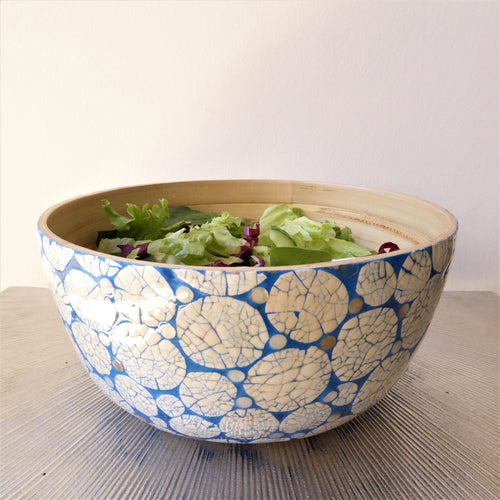 Blue & White Bamboo Fruit / Salad Bowl by Vie
