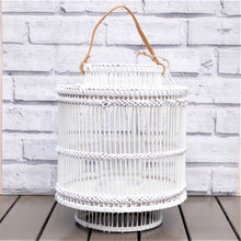 Bamboo Lantern Artisan Made ~ White