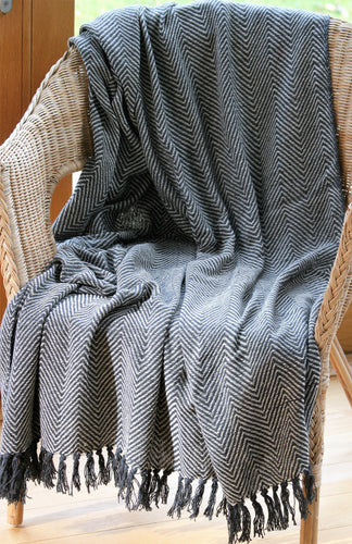 Throw / Blanket ~ Ibis ~ Charcoal Chevron Design