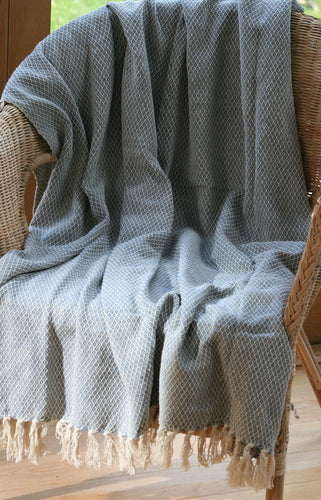 Throw / Blanket with Blue Design ~ Fair Trade ~ 'Merlin'