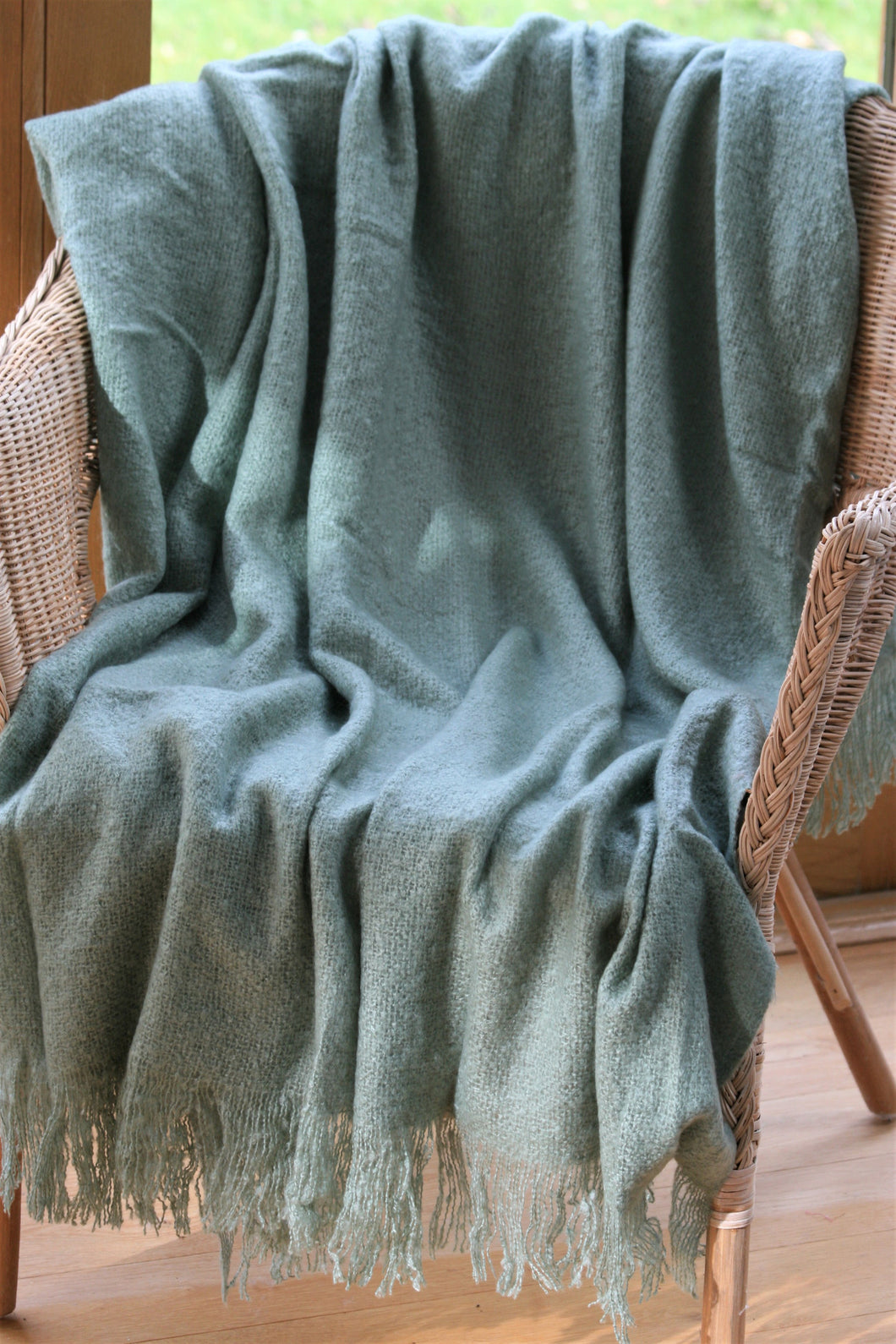 Soft Throw / Blanket ~ Lapwing ~ Eucalyptus, Ink, Duck Egg Blue