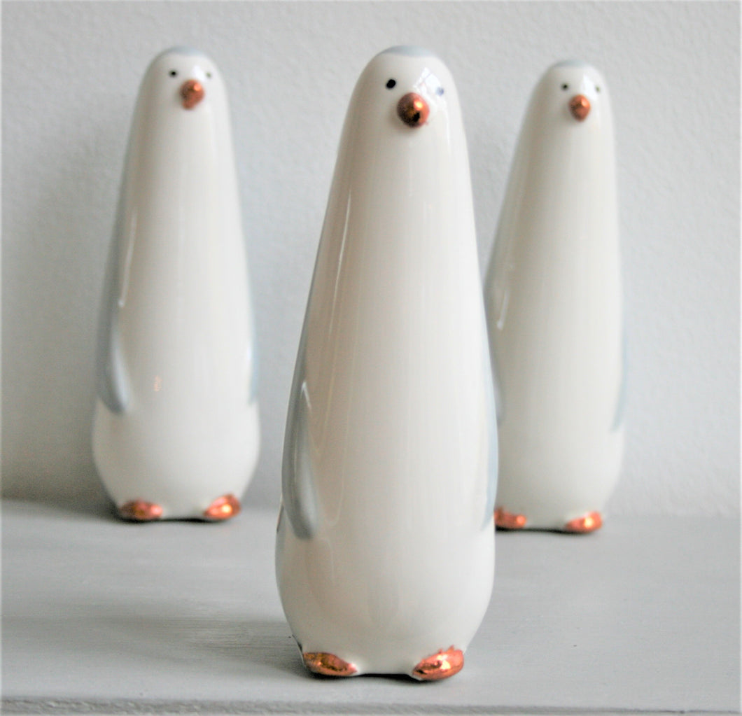 Ceramic Grey Penguin with Copper Coloured Nose