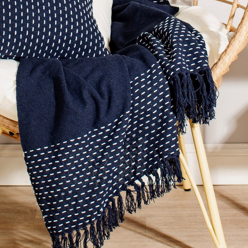 Deep Blue Stitched Blanket / Throw from Sass & Belle
