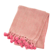 Nevada Pink Herringbone Blanket / Throw from Sass & Belle with Pom Poms and Tassels.  Made from Recycled Yarn