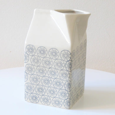 Milk Jug ~ Ceramic ~ Milk Carton Shape ~ Grey Pattern