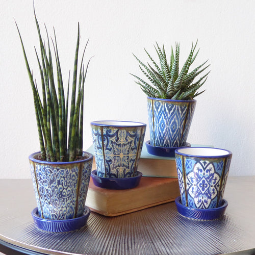 Blue Mini Moorish Pots with Saucer Detail