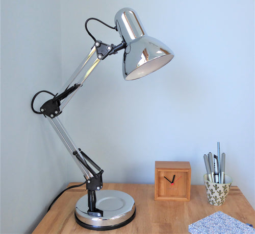 Hinged Desk Lamp ~ Chrome