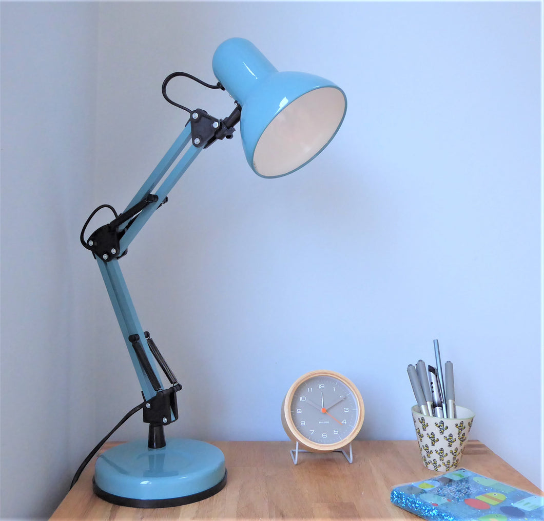 Hinged Desk Lamp ~ Blue