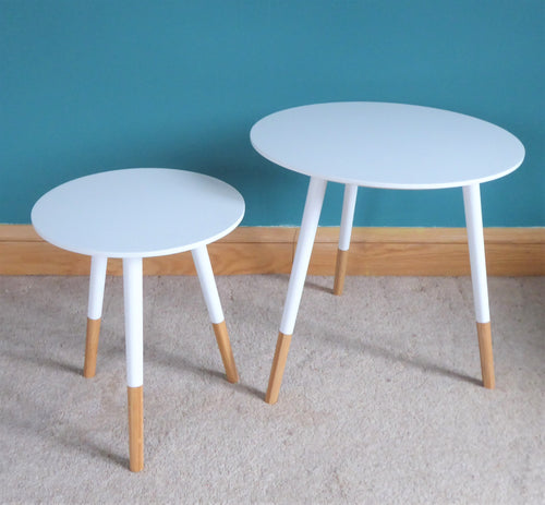 White wooden side tables ~ Present Time