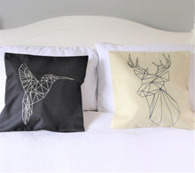 Geometric monochrome novelty cushion - Stag / Deer or Humming Bird