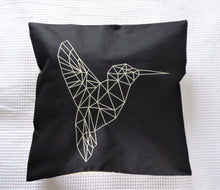 Geometric monochrome novelty cushion - Black Humming Bird