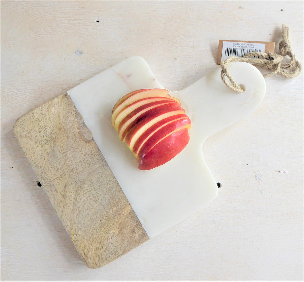 Marble & Mango Wood White Mini Two Tone Paddle Board ~ Chopping Board ~ Fair Trade ~ Dassie