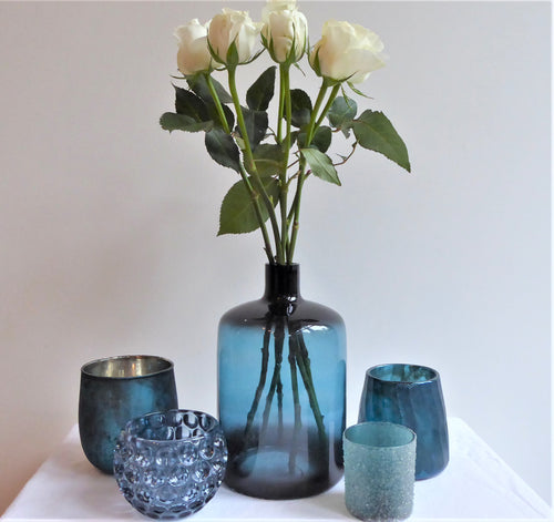 Tall / Large Blue Glass Vase from Light & Living (Tolosa)