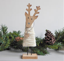 Wooden Reindeer with Fluffy Coat ~ Christmas Decoration