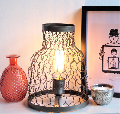 Metal Cage Lamp ~ Light & Living Tunos ~ Rustic Aged Vintage Industrial Lighting