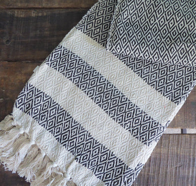 Scandi Boho Sass and Belle / Sass & Belle blanket throw ~ cotton ~ geometric black and cream design