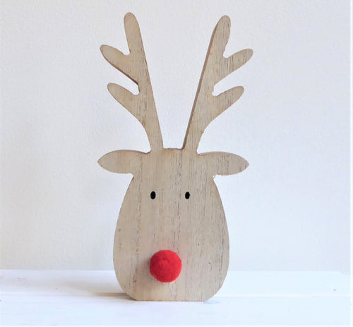 Wooden Rudolph the Red Nose Reindeer Standing Christmas Decoration by Transomnia