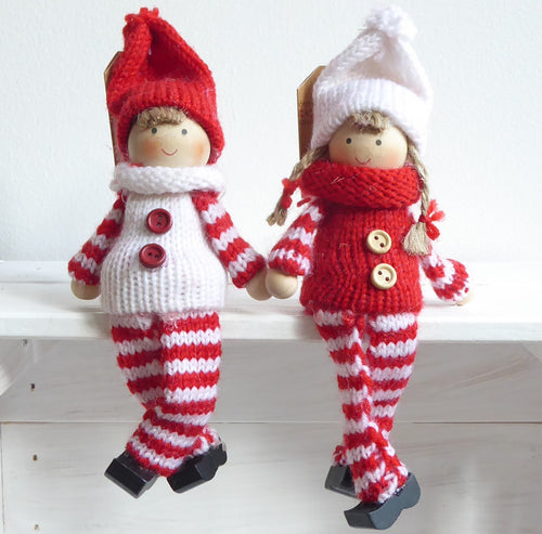 Knitted Sitting Dolls Christmas Decorations by Sass & Belle
