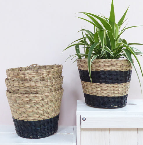 Black Dip and Black Striped Seagrass Basket Planters from Sass & Belle