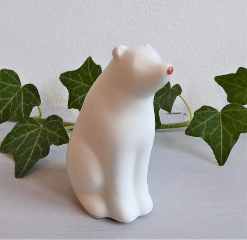 Ceramic Polar Bear Christmas Decoration with Copper coloured Nose