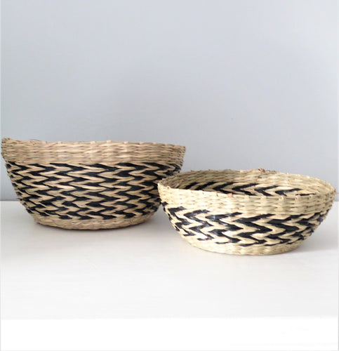 Black Chevron Seagrass Decorative Basket Bowls ~ Set of 2 ~ from Sass & Belle