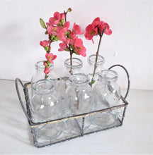 Wire Basket with Six Mini Milk Bottles from Grand Illusions