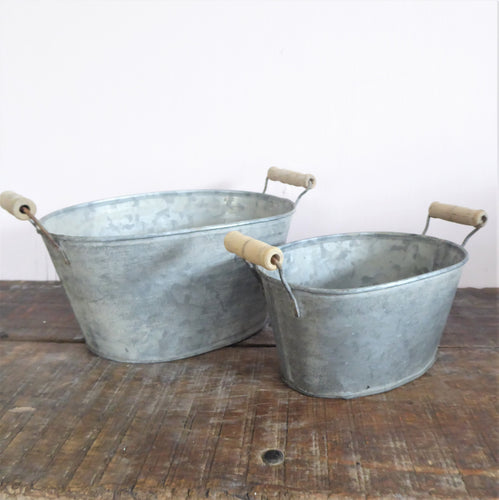 Zinc Oval Tubs / Planters with Wooden Handles ~ Set of 2 ~ from Grand Illusions