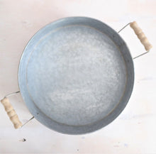Zinc Round Tray with Wooden Handles by Grand Illusions