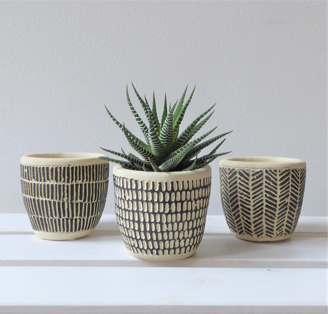 Scandi Boho Mini Cement Planters by Sass & Belle